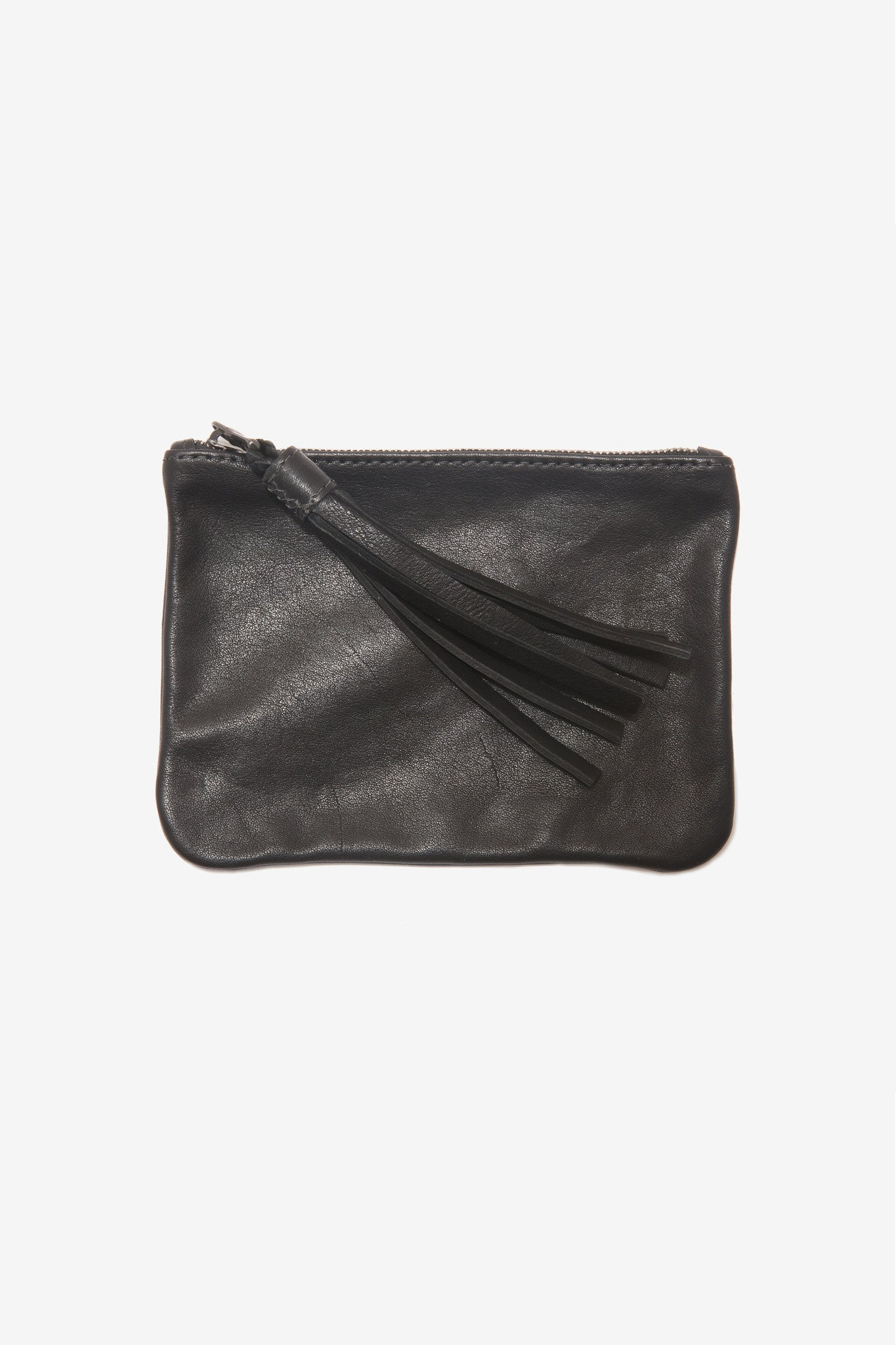 The Medium Black Pouch is a medium leather pouch with a leather tassel zip by Moses Nadel.