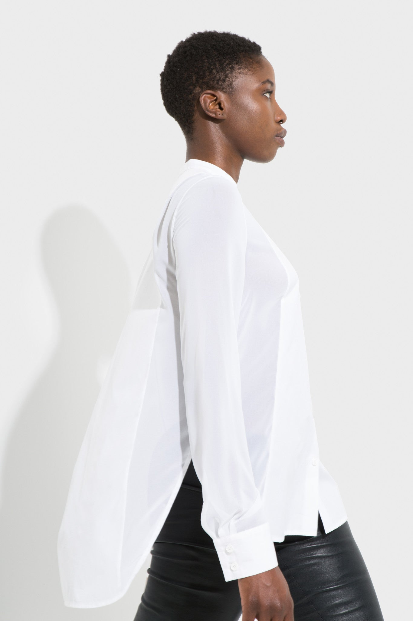 lou button up white shirt long blouse made of organic cotton with mandarin collar