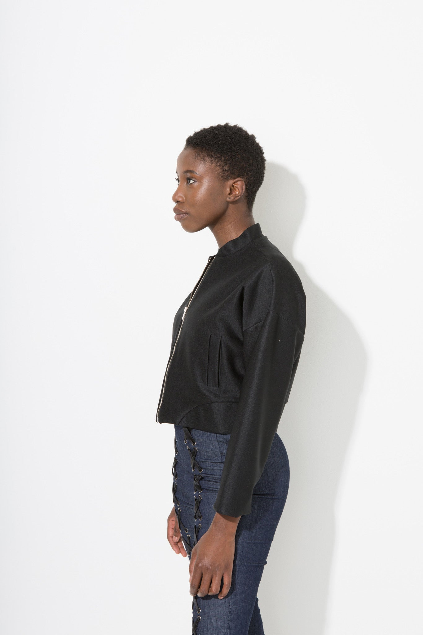 Jeremy Jacket is a short bomber jacket with wide sleeves by Enda