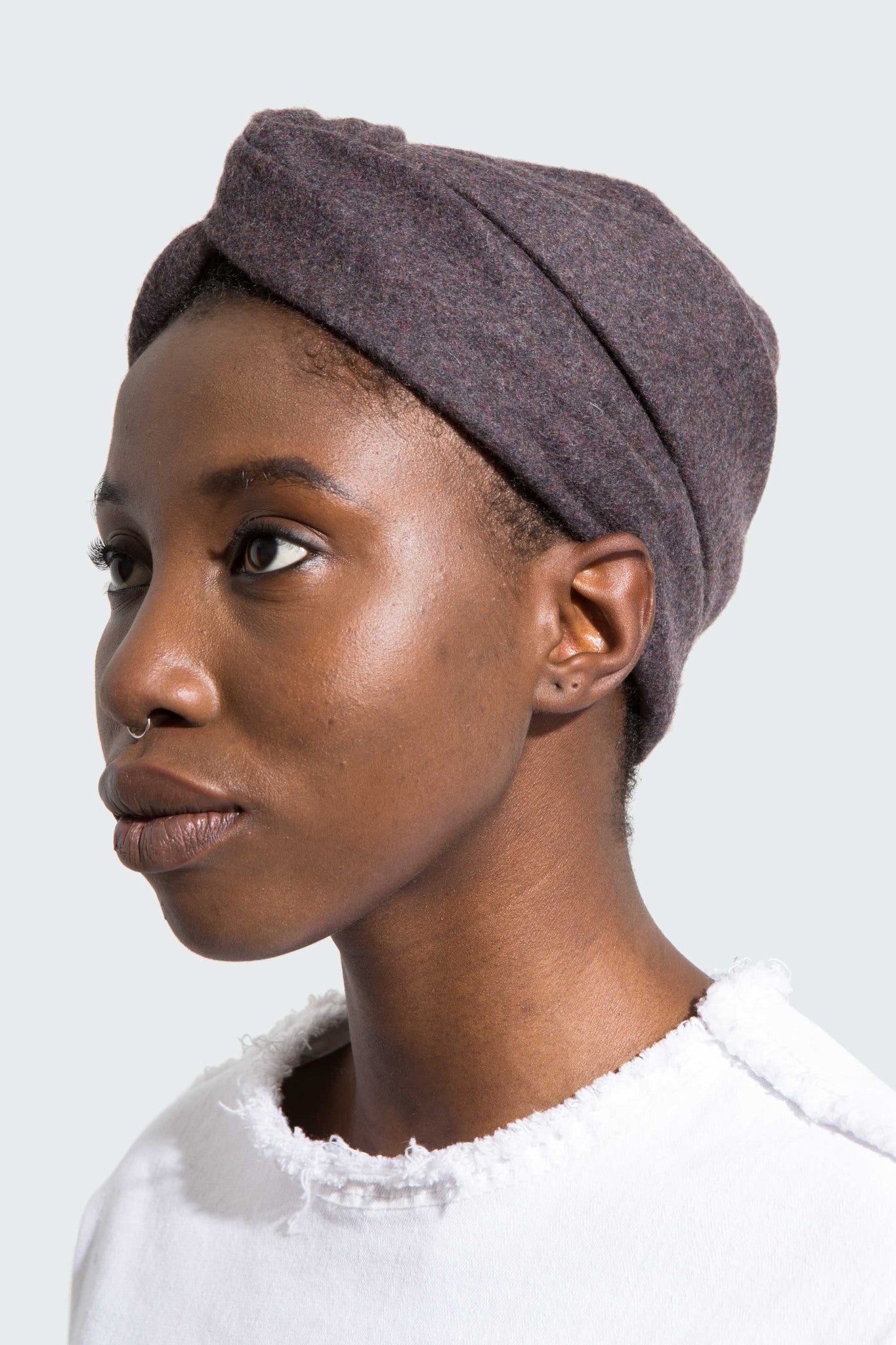 Charlie turban is a modern, soft, Italian cashmere turban designed by Another Garde's milliner, Julia Emily Knox