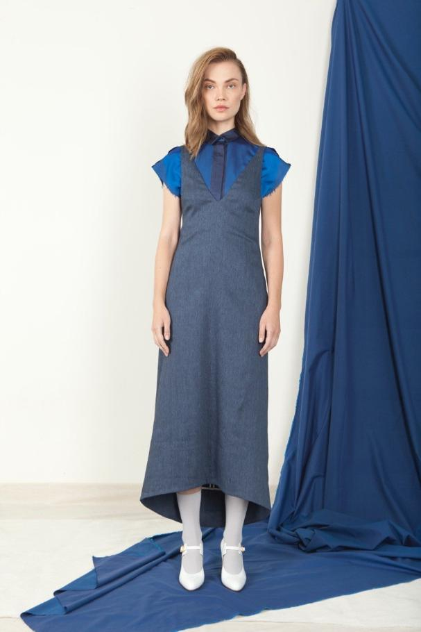 Open V-Neck Dress - Natsu Denim