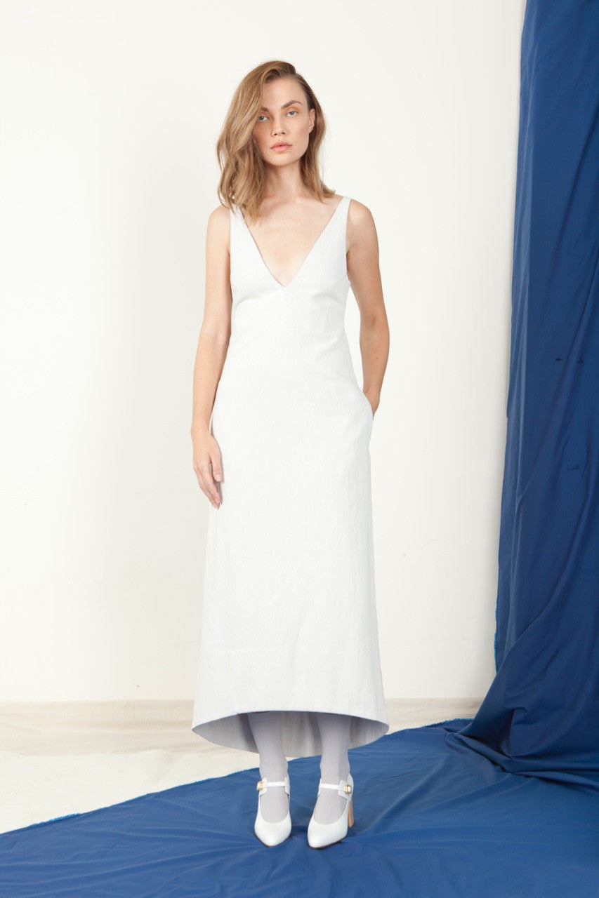 Open V-Neck Dress - White