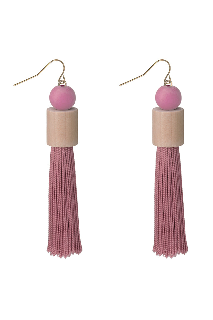 Cylinder Tassel Earrings