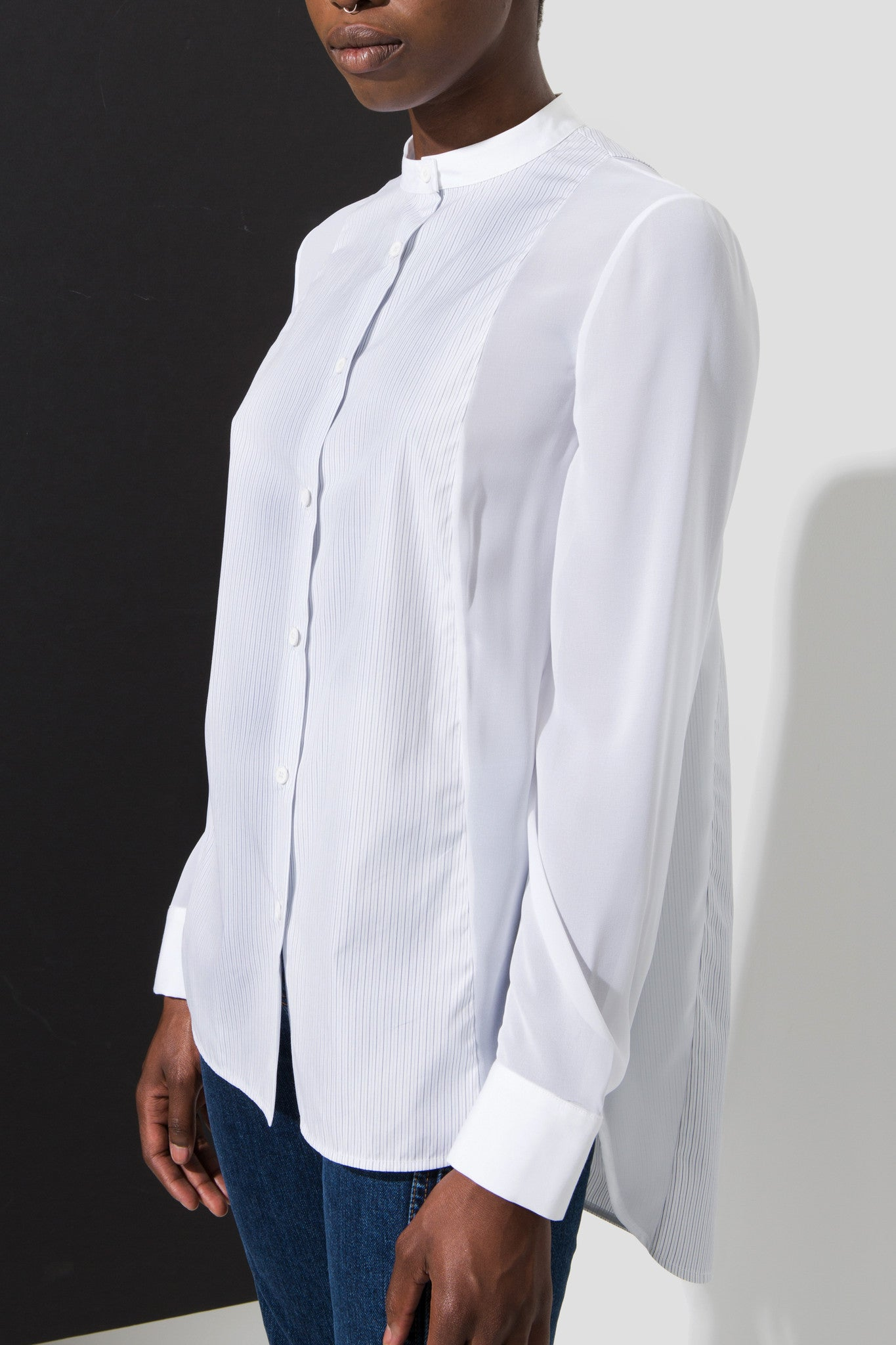 lou button up white striped shirt long blouse made of organic cotton with mandarin collar