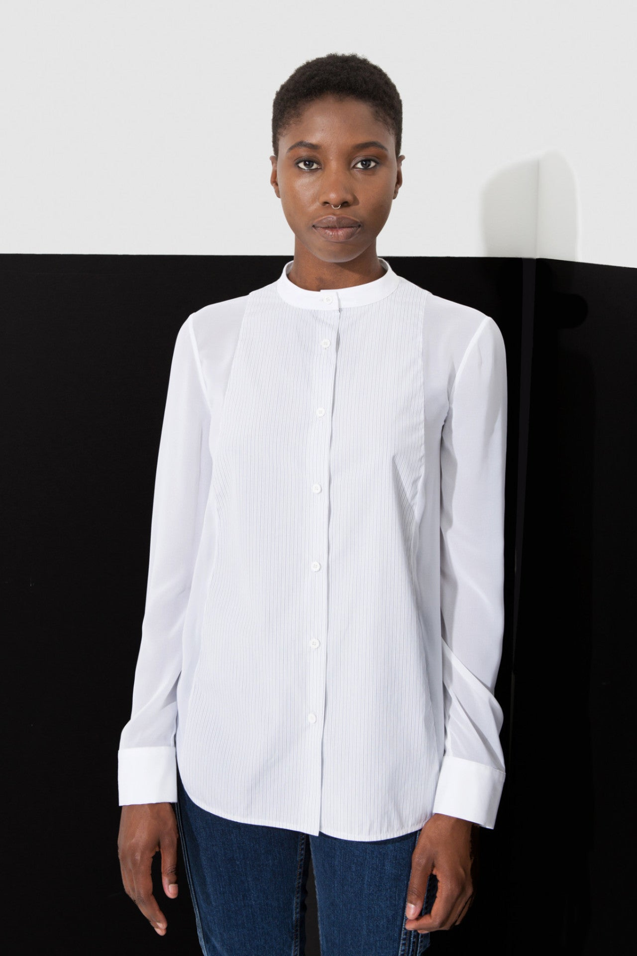 Lou Button Up is a white chiffon and poplin button up by Another Garde