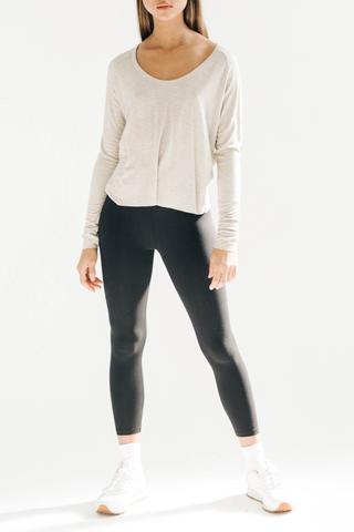 Open Neck Long Sleeve - Oatmeal Rib