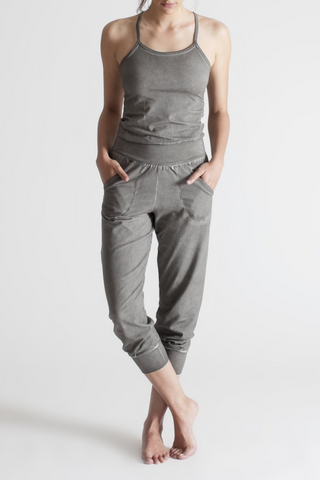 Stonewash Yoga Jumpsuit - Medium Grey