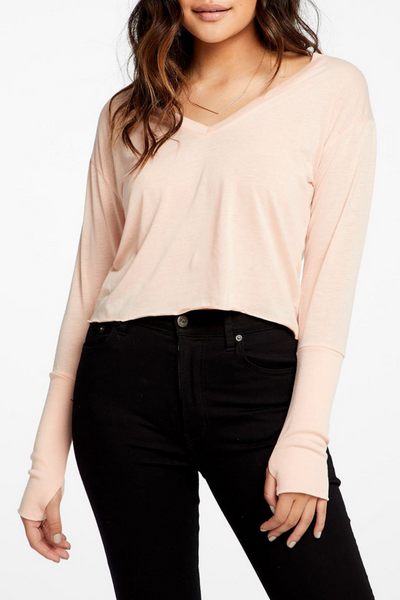 Cropped Deep V Long Sleeve