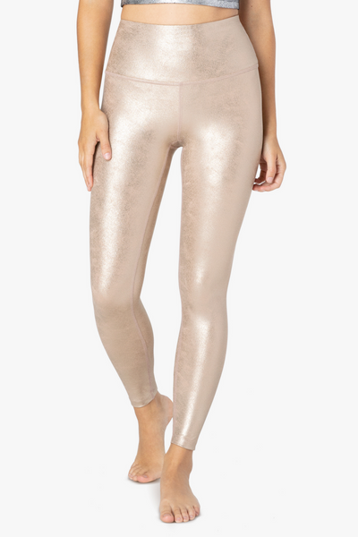 Luxe Leatherette Midi Legging - Desert Suede Light Gold