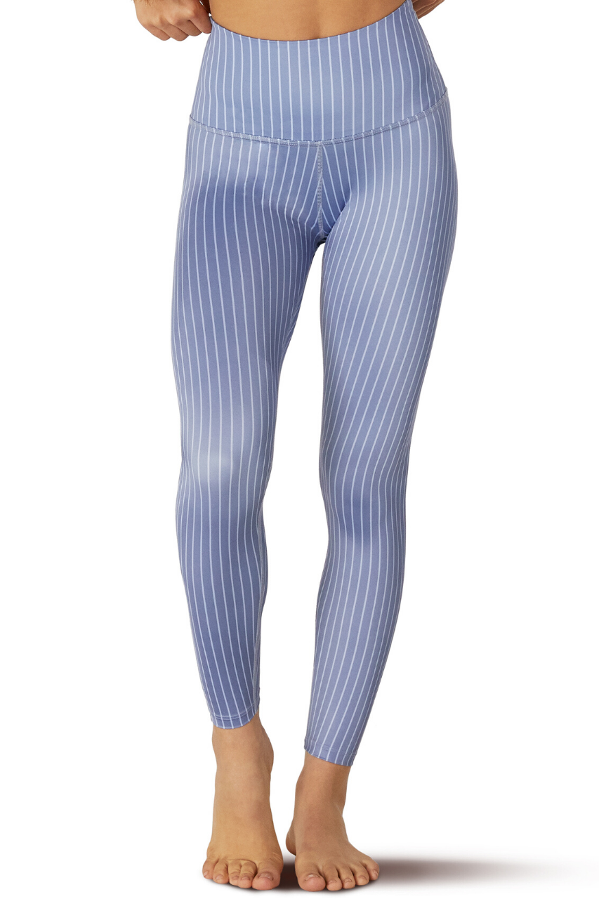 High Waisted Midi Legging - Pinstripe