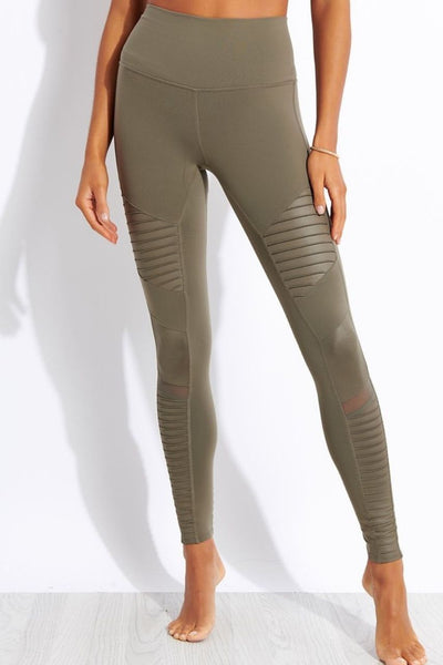 High Waisted Moto Legging - Olive Branch