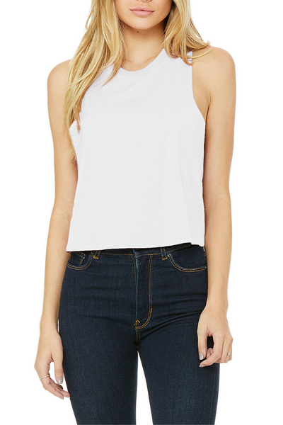 Racerback Crop Tank - Solid White Blend