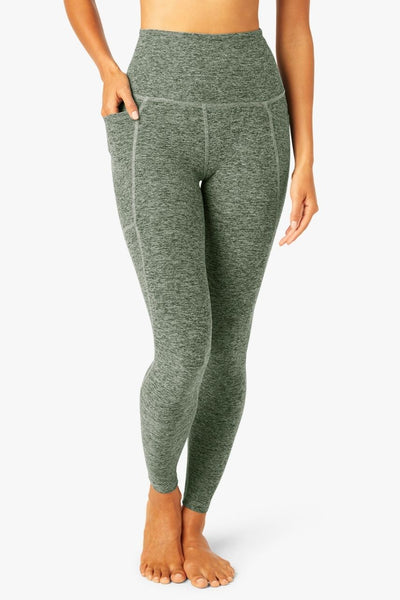 Out of Pocket High Waisted Midi Legging- Palm Green/White