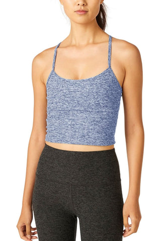 Spacedye Slim Racerback Cropped Tank- Indigo White