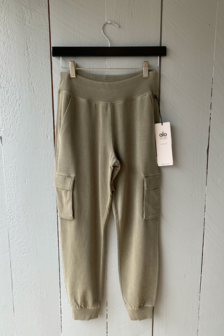 Washed 7/8 High Waist Cargo Sweatpant