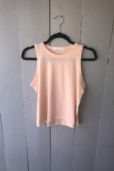 Short Cut Tank- Rose
