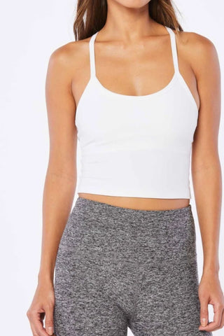 Spacedye Slim Racerback Cropped Tank - Cloud White