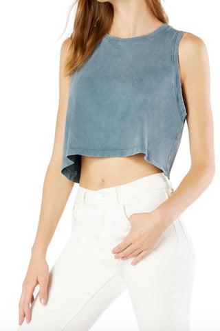 Don't Distress Balance Cropped Tank- Stormy Blue
