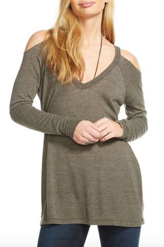 Cold Shoulder Raglan V-Neck