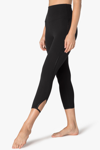 Slip Open High Waisted Capri Legging