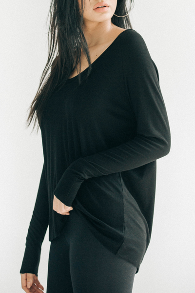 For Keeps V-Neck - Heavy Black Rib