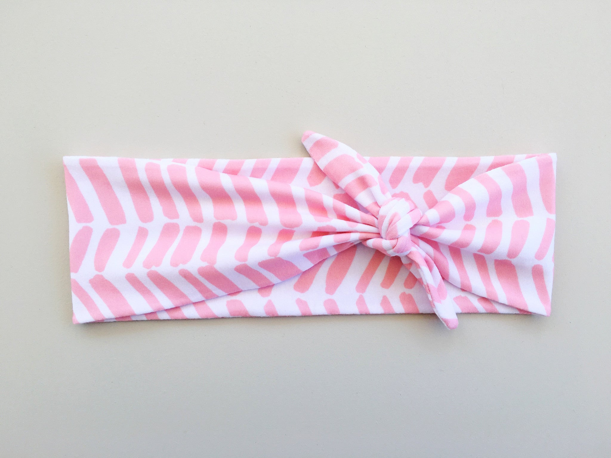 Pink and White Chevron Headband