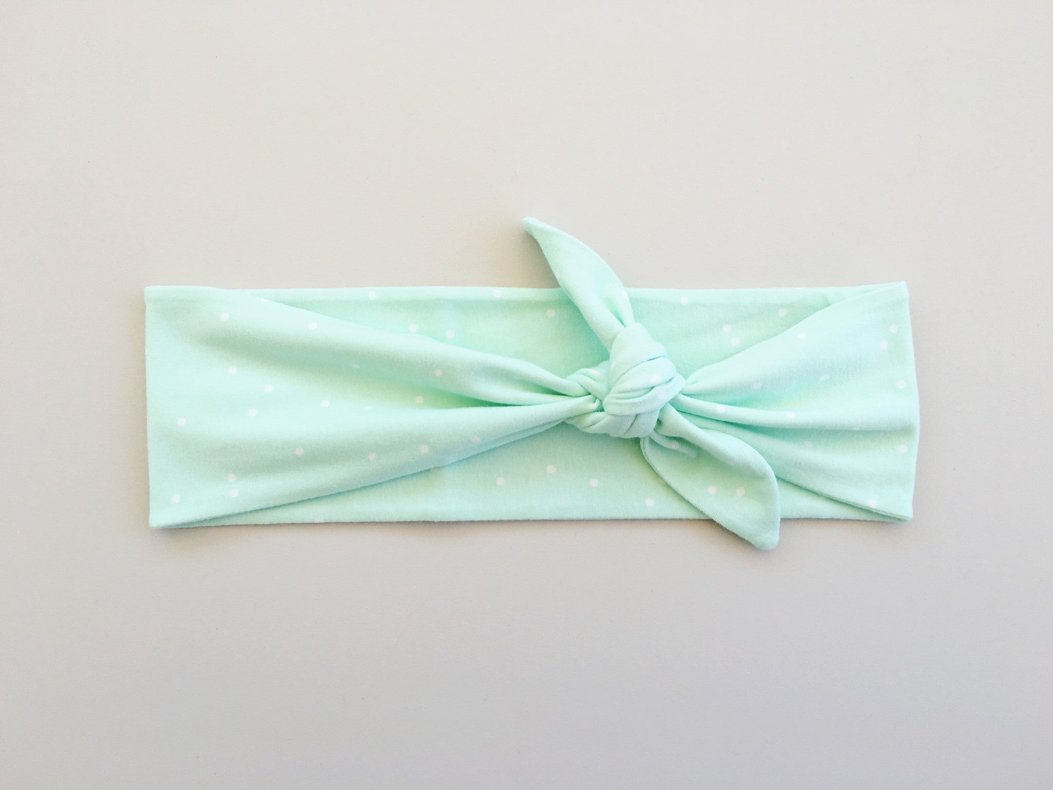 Mint and White Polka Dot Headband