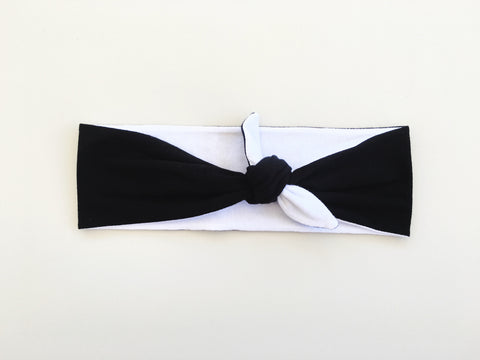 Black + White Reversible Headband