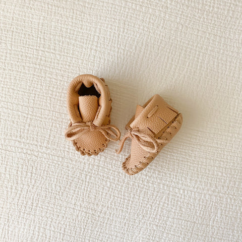 Leather Baby Booties - Tan/Blush