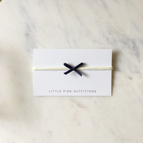 'Ava' Mini Velvet Bow - Navy