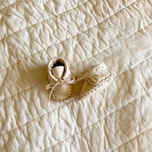 Leather Baby Booties - Ivory