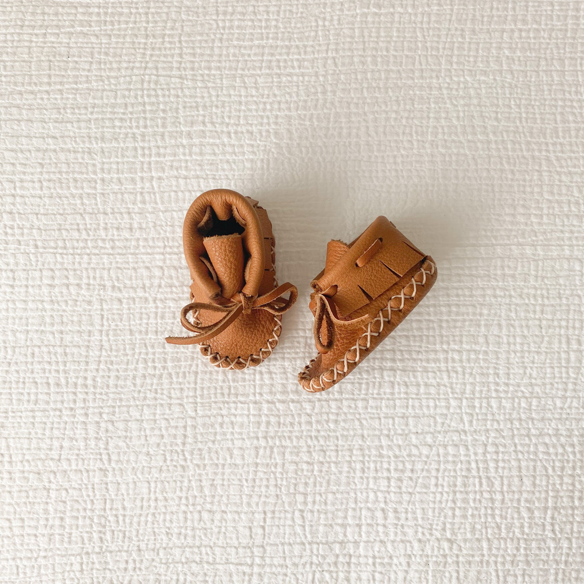 Leather Baby Booties - Chestnut