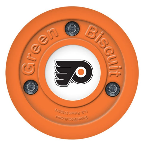 flyers-green-biscuit-hockey-puck