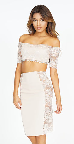 Crystal Crop Top And Skirt Set