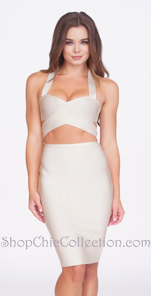 Olivia Bandage Two-Piece Set - Beige -bandage