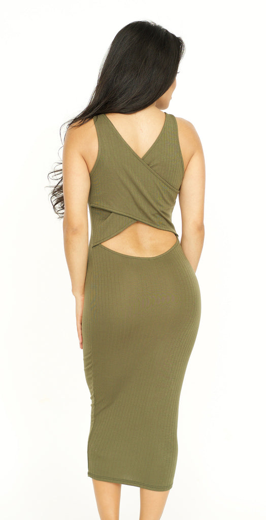 Crossed Back Ribbed Bodycon Dress -dresses