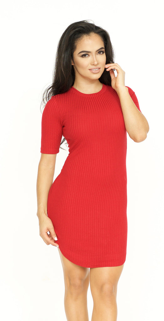 Jenner Ribbed Mini Dress - Red -dresses
