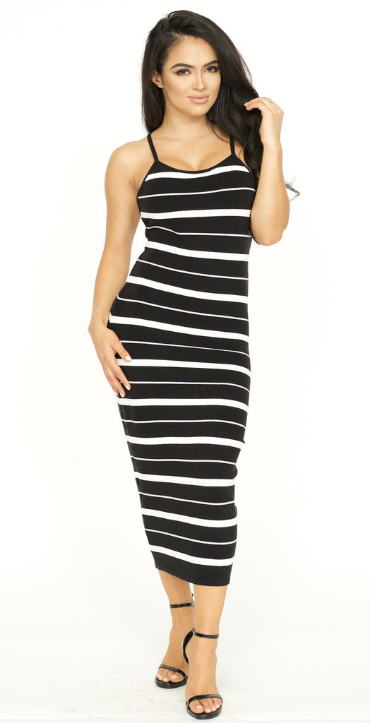 Striped Knit Sweater Midi Dress -dresses