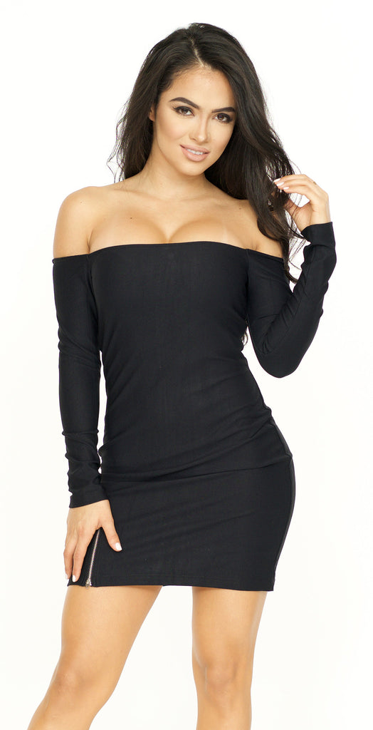 Off The Shoulder Long Sleeve Bodycon Dress -dresses