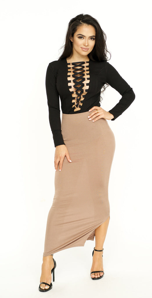 Side Slit Midi Skirt -bottoms