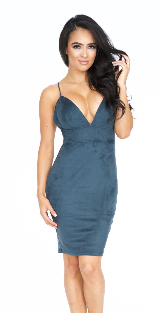 Havana Suede Mini Dress- Emerald -dresses