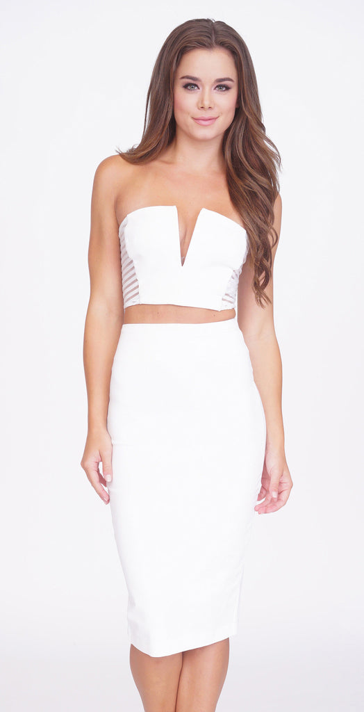 Crystal Crop Top And Skirt Set -dresses