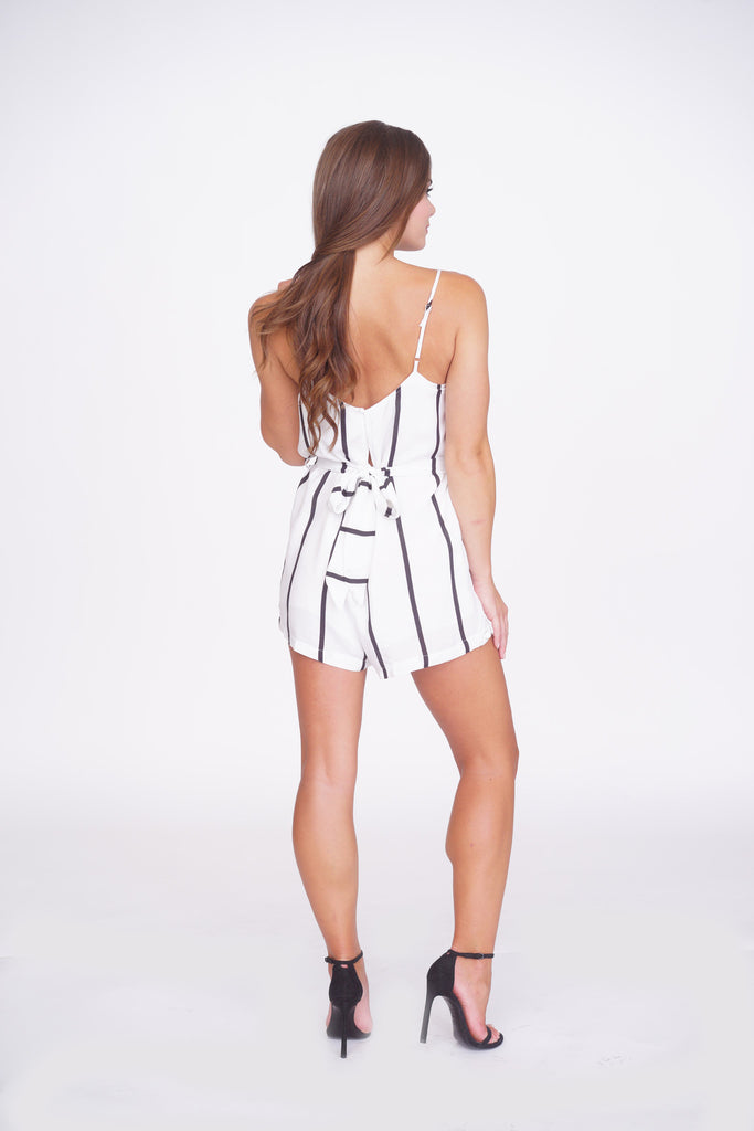 High Voltage Striped Romper - white -rompers