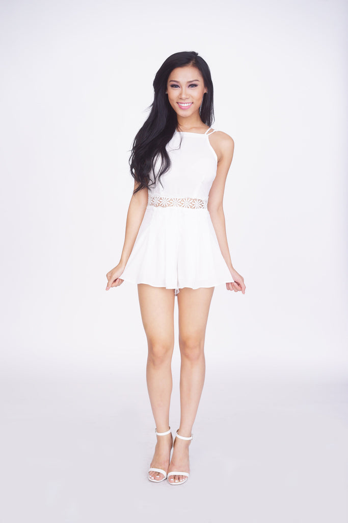 White Daisy Romper -rompers