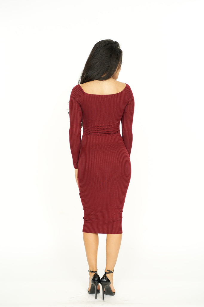Ribbed Long Sleeves Bodycon Dress - Burgundy -dresses