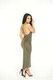 All Nighter Suede Dress - Olive -dresses