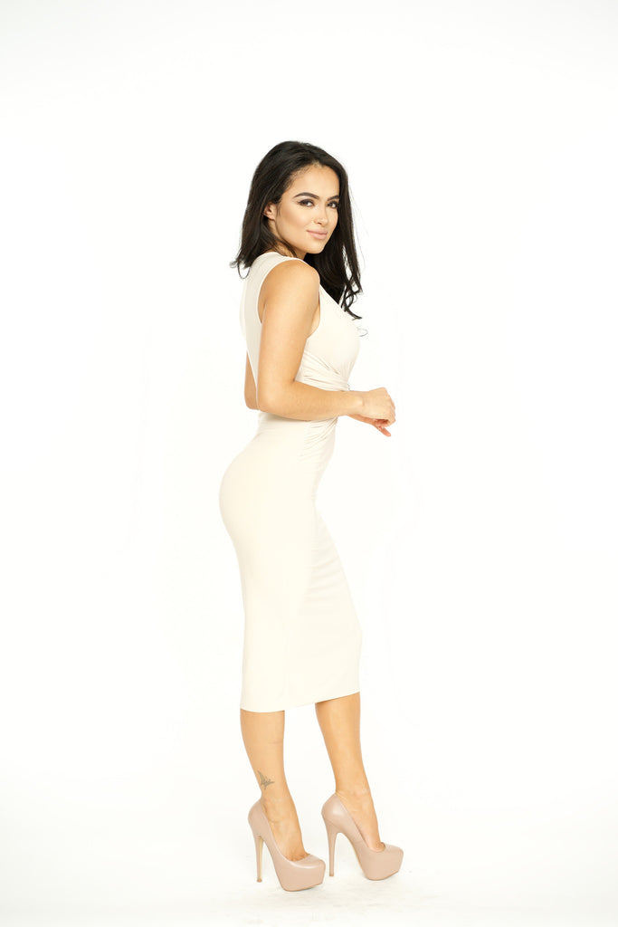 Knotty Bodycon Dress - Nude -dresses