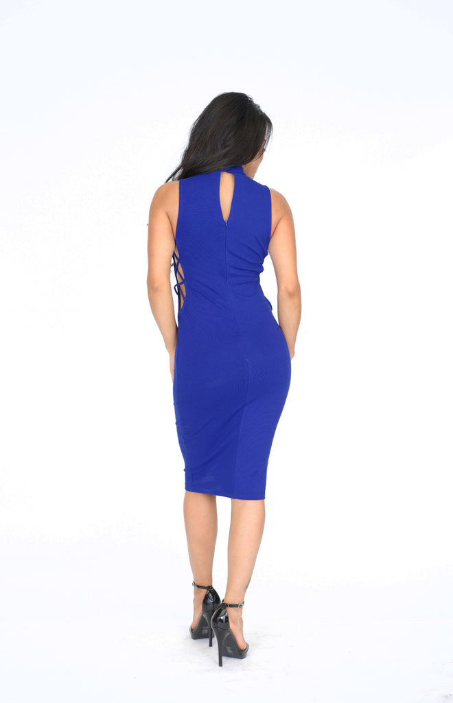 Lace Up Side Bodycon Dress - Royal Blue -dresses