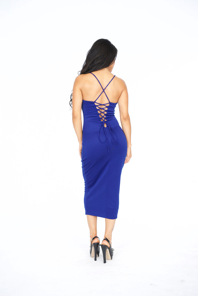 Ambrosia Lace Up Midi Dress -dresses