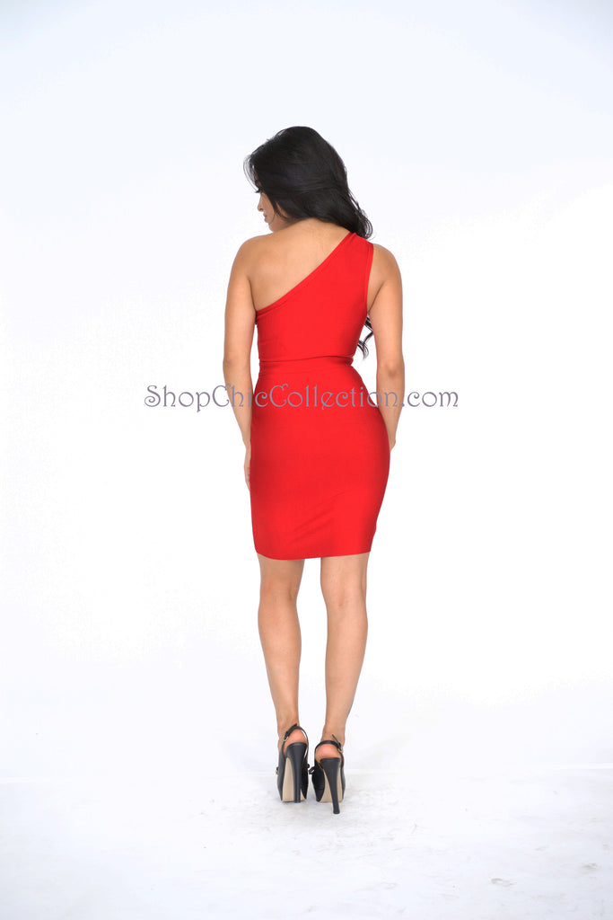 Karin Bandage Dress - Red -bandage